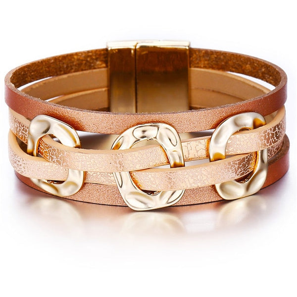 Wide Leather Wrap Cuff Bracelet