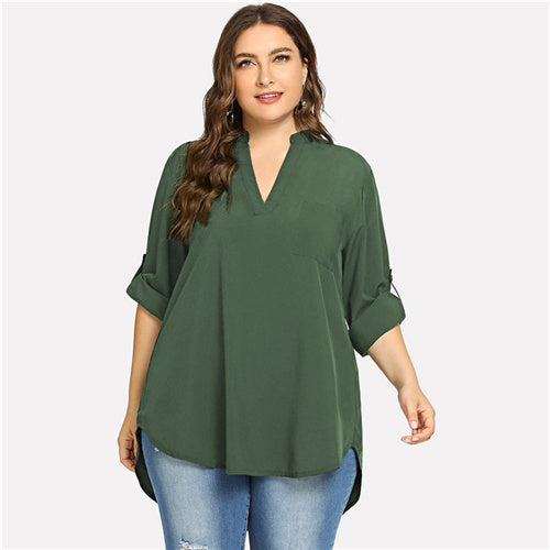Plus Size V Neck Roll Up Sleeve Top in 4 Colors