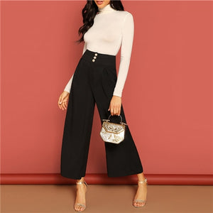 Button Fly High Waist Wide Leg Pants