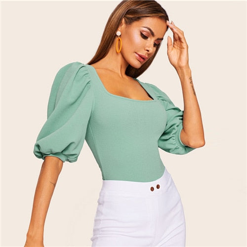 Puff Sleeve Solid Fitted Square Neck Top