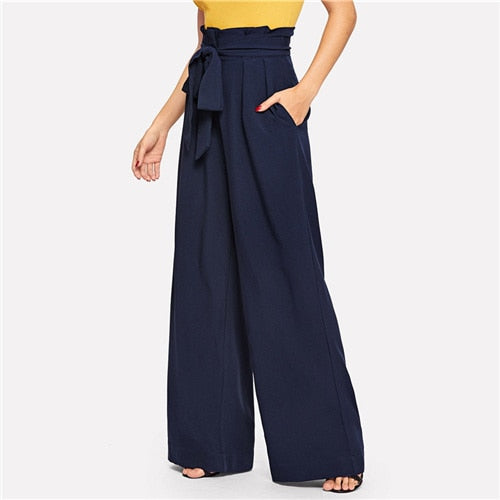 Navy Paperbag Waist Belted Wide Leg Pants