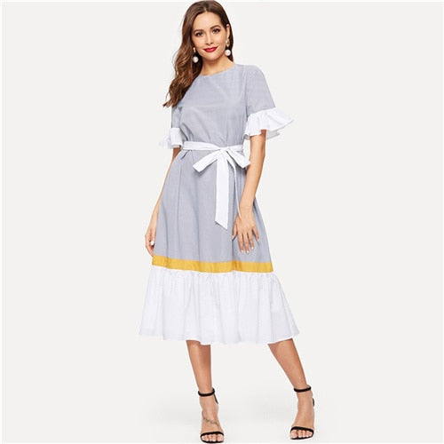 Ruffle Hem Color-Block Belted Striped Dress