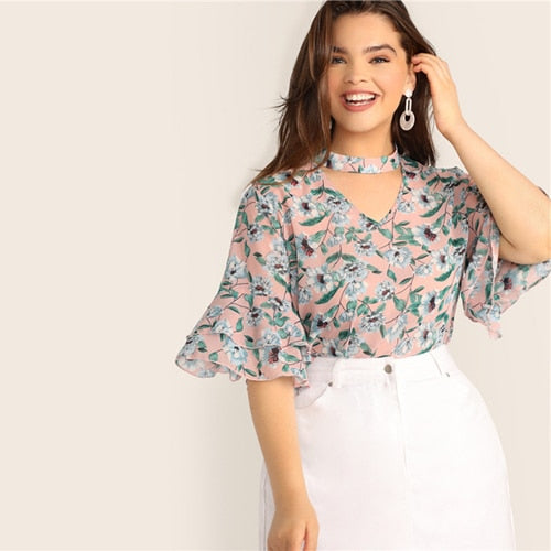 Plus Size V-Cut Choker Floral and Butterfly Print Mid Sleeve Top