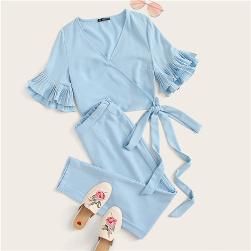 Blue Surplice Wrap Layered Ruffle Sleeve Knotted Crop Top and Pants Set