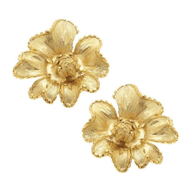 Gold Stud Flower Earrings