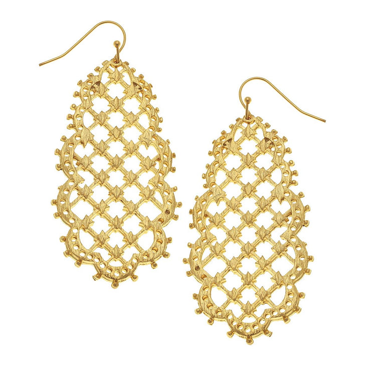 Gold Filigree Drop Earrings