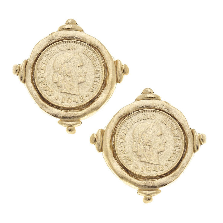 Gold Coin CLIP Earring