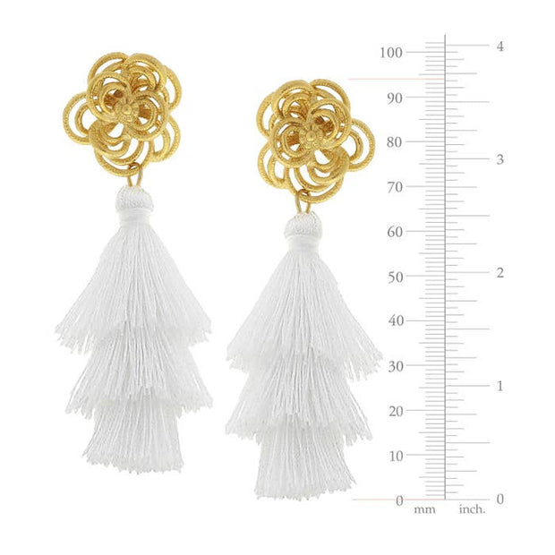 Gold Open Flower Tiered White Tassel Earrings