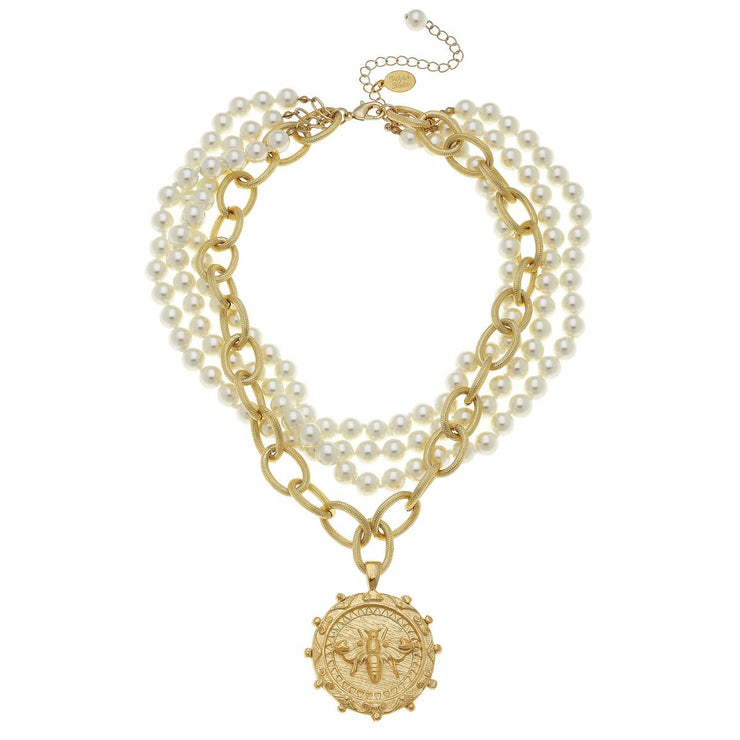 Multi-Strand Pearls with Gold Bee Necklace