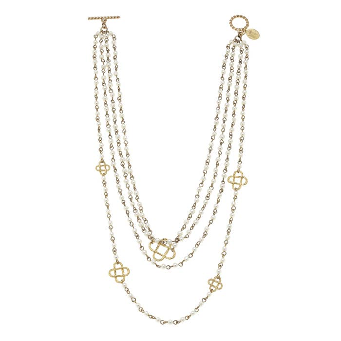 Multi-Strand Pearl & Gold Clover Necklace