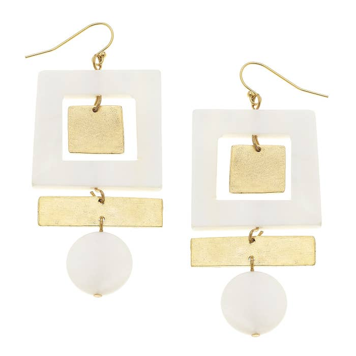 Gold Square Mother of Pearl Dangle Earrings