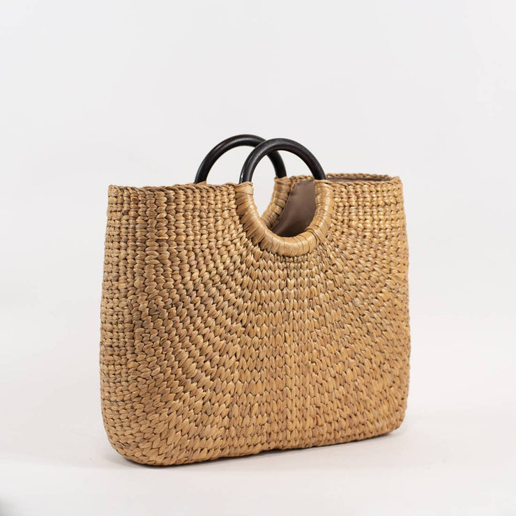 Straw Market Bag with Dark Wood Handle