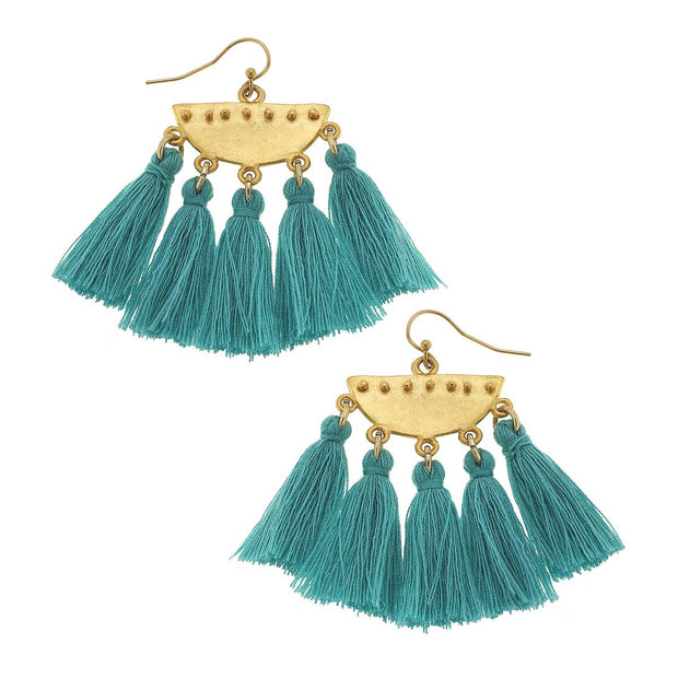 Teal Tassel Drop Earrings