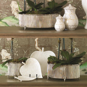 Corrugated Bamboo Cachepot - Nickel