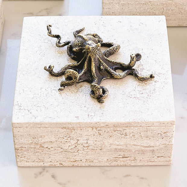 Bronze Octopus Travertine Box