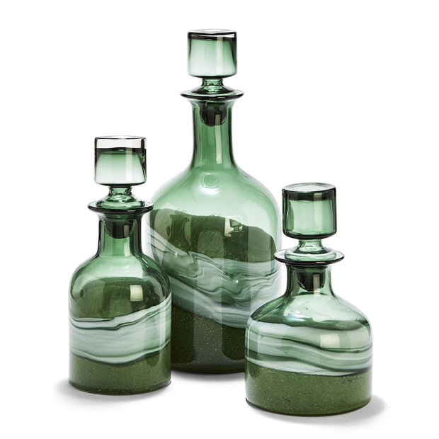Artisan Green Swirl Glass Decanters Set of Three