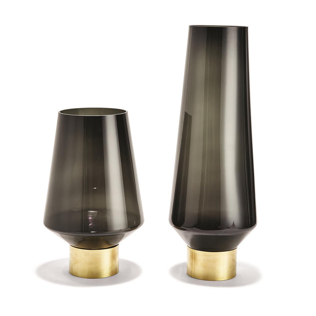 Smoke Glass Chimney Vases Set of Two