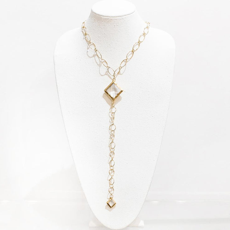 Crystal Drop Gold Necklace
