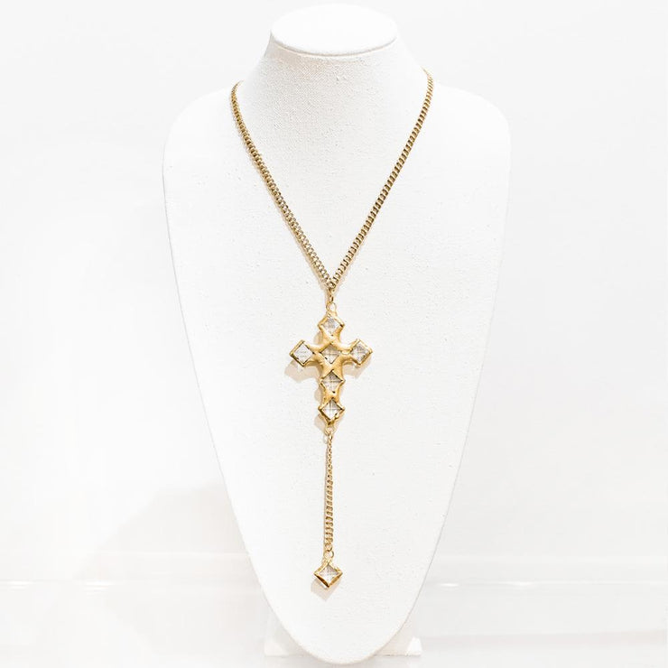 Sonya Gold & Crystal Cross Necklace