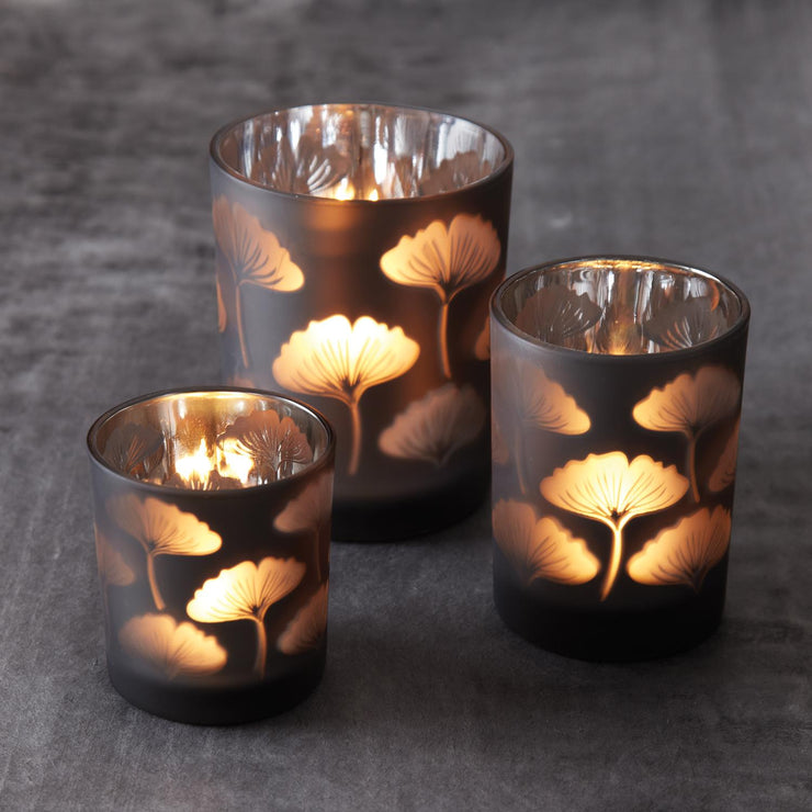 Ginkgo Leaf Votive Holders Set of Three