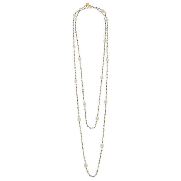 Gold & Pearl Chain Multi-Strand Necklace with Fresh Water Pearls