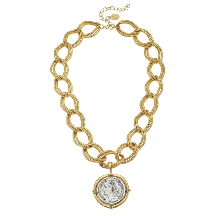 Gold & Silver French Franc Medallion Necklace
