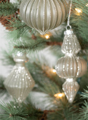 Pleated Glittered Ornaments Set of Three