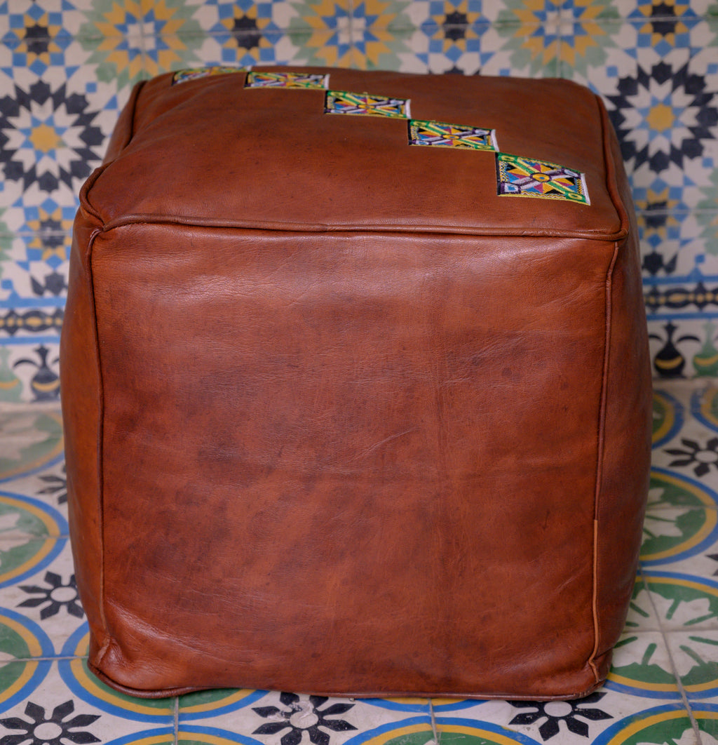 bags SQUARE LEATHER POUF - ArtinooARTINOO