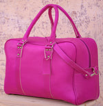 WEEK-END LEATHER BAG-FUCHSIA