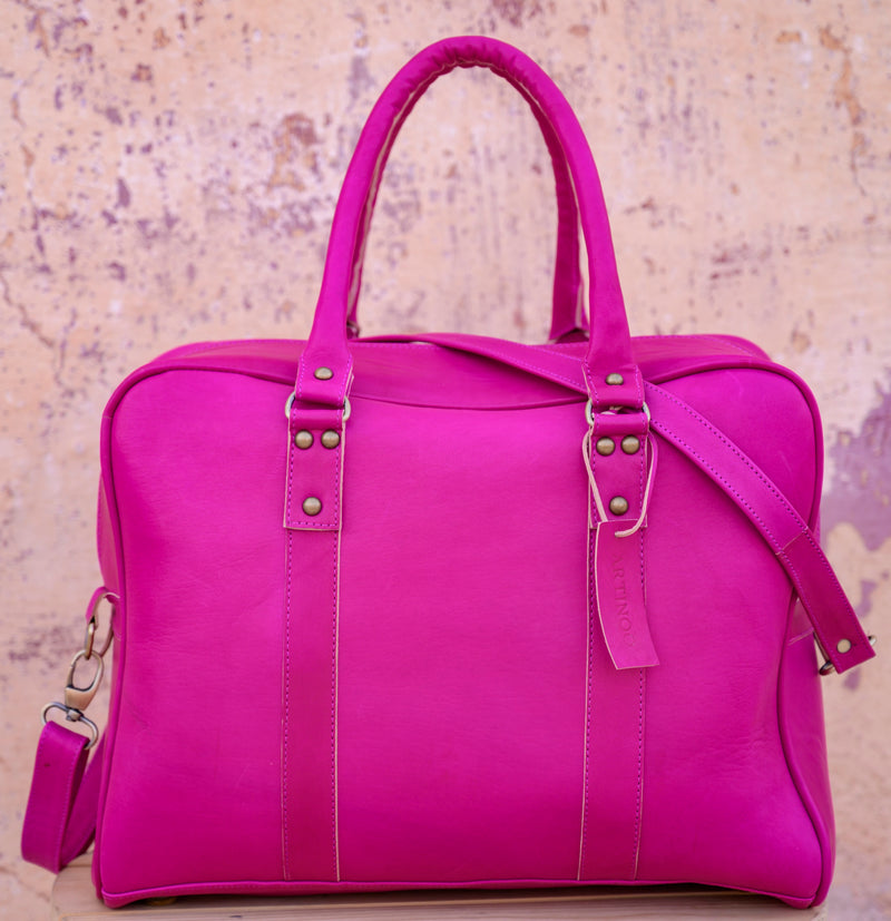 bags WEEK-END CHIC LEATHER BAG-FUCHSIA - ArtinooARTINOO