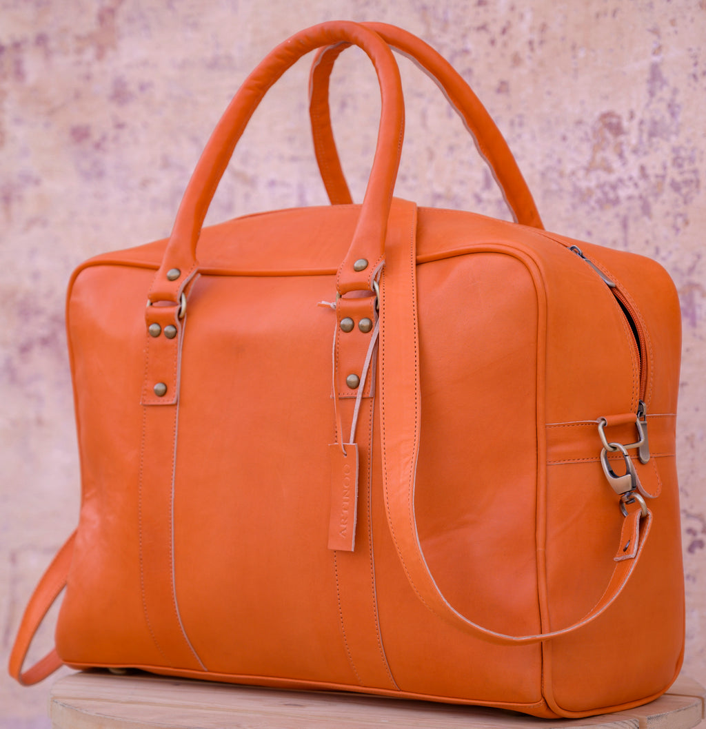 bags WEEK-END LEATHER BAG- ORANGE - ArtinooARTINOO