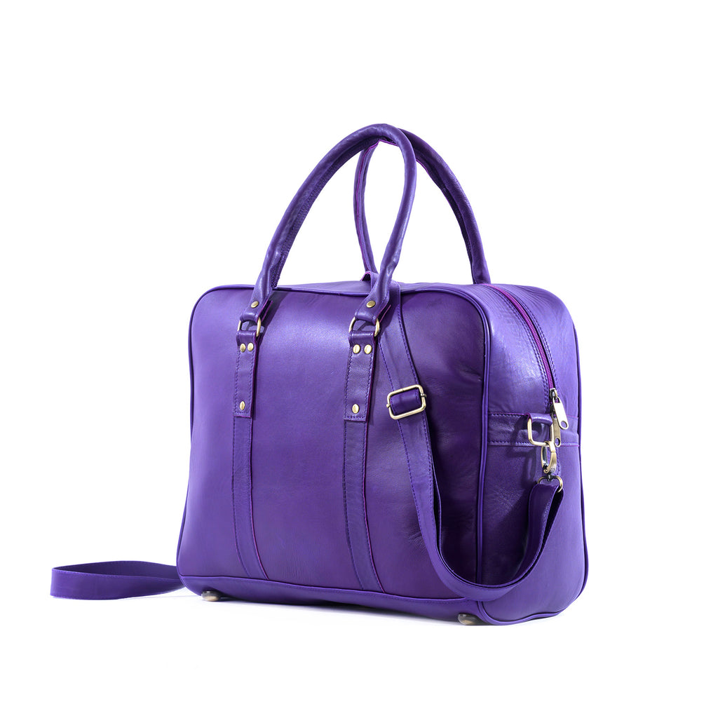 bags WEEK-END LEATHER BAG- PURPLE - ArtinooARTINOO