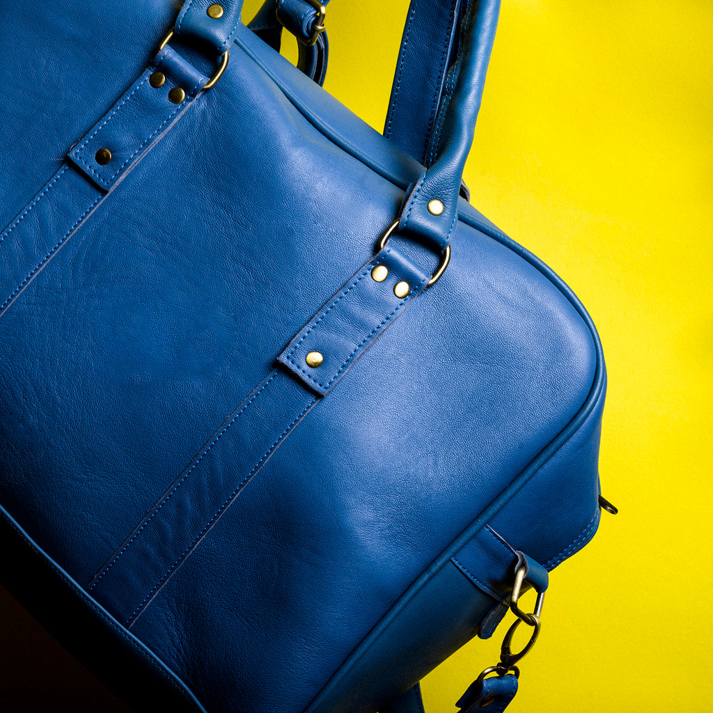 bags TRAVEL LEATHER BAG-BLUE - ArtinooARTINOO