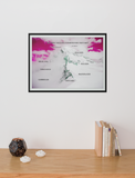 """Worth Every Step - Goals"" Dry Eraseable Pink Sky Graphic Print (Large/Medium)"