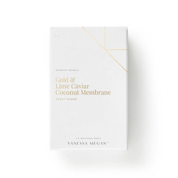 Gold & Lime Caviar Coconut Membrane Sheet Mask <br>黃金魚子面膜