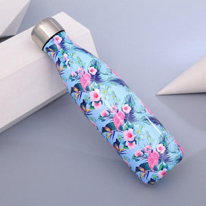 Flamingo Floral Water Bottle BPA free Stainless Steel Beer Tea Coffee Thermos Bottle Travel Sport Gym Drink Bottle Insulated Cup Green War