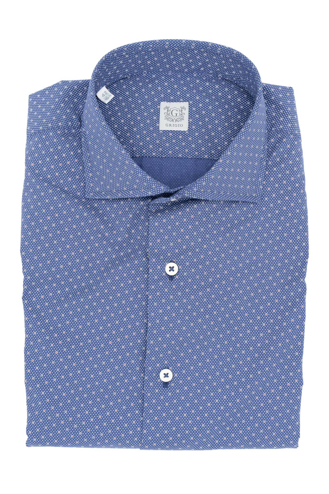 Micro dot blue shirt