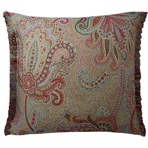 Dragonfly Cushion with Frayed Edge - Sapphire