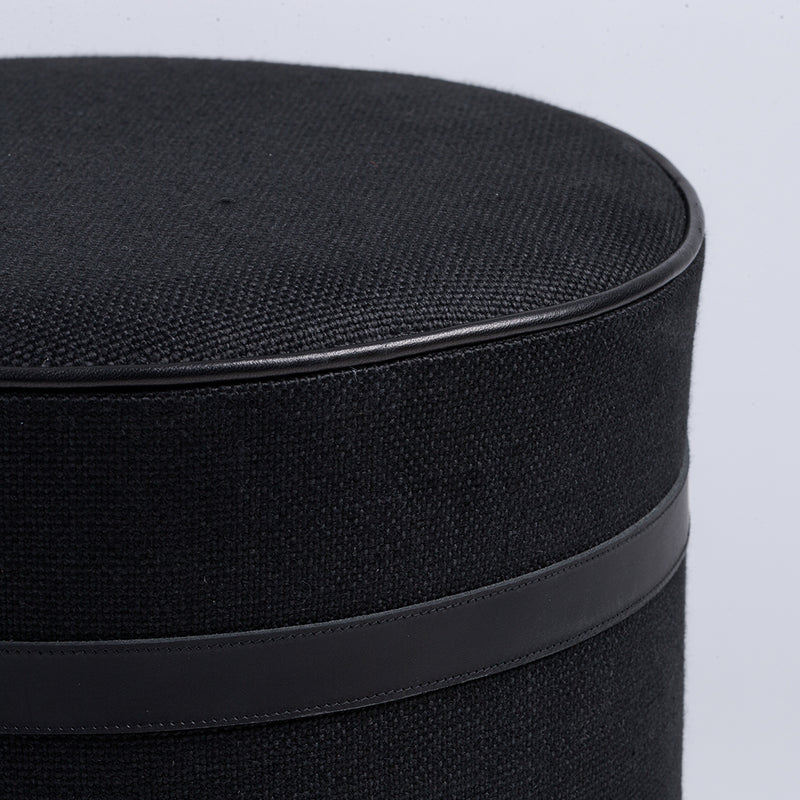 Cape Pill Stool with Leather Detail - Coal