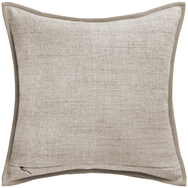 Cloud Forest Cushion with Suede Trim - Fog