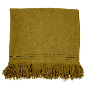 Fox Throw with Fringe and Leather Detail - Reed