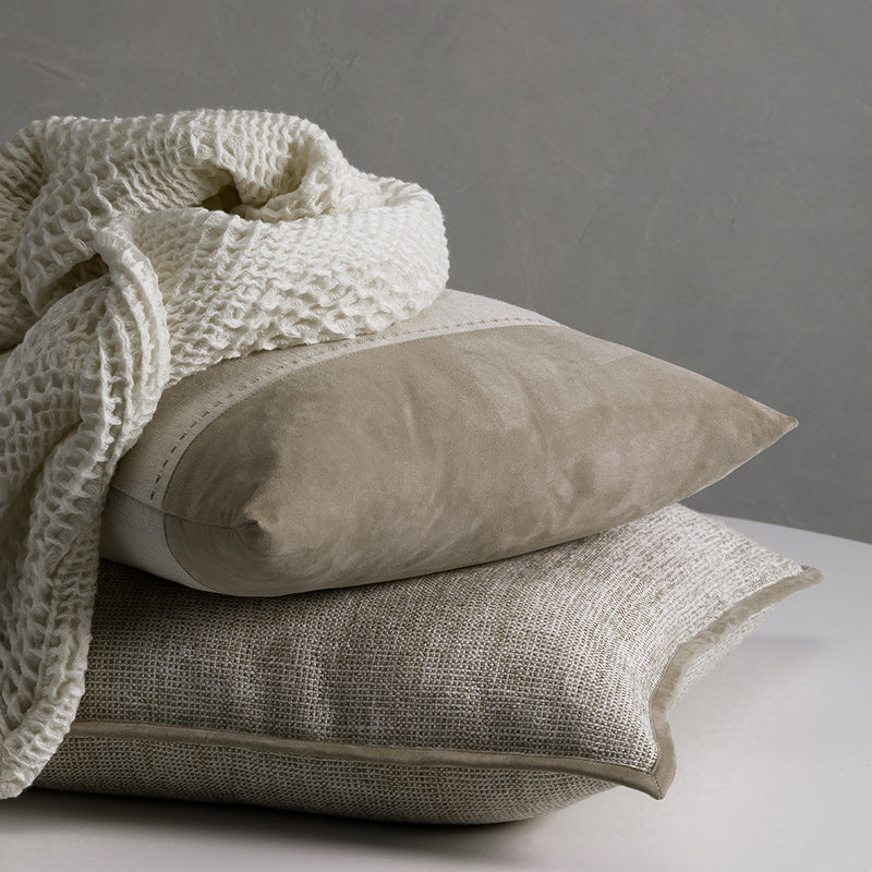 Bracken Cushion with Suede Panel - Seed