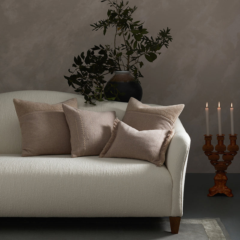 Cashmere Wool Twill Cushion with Alpaca Panel - Taupe