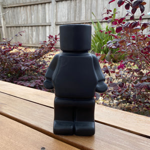 Block Man Planter - Black