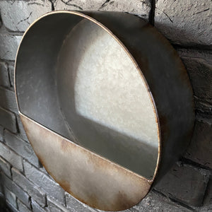 Galvanised Metal Wall Planter - Small