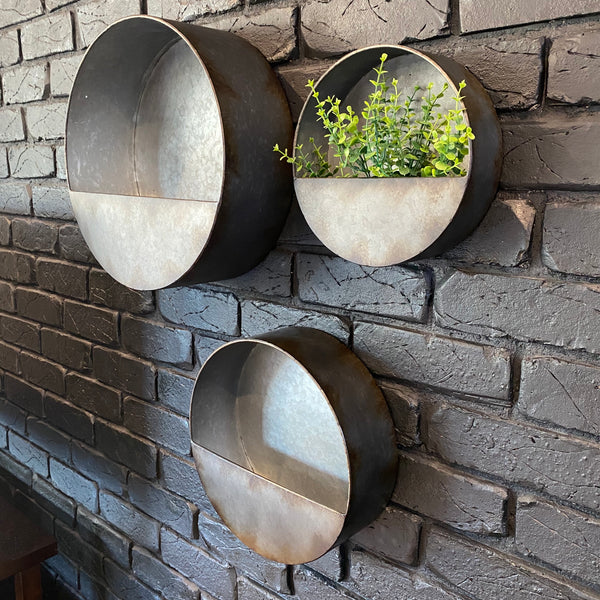 Galvanised Metal Wall Planter - Large