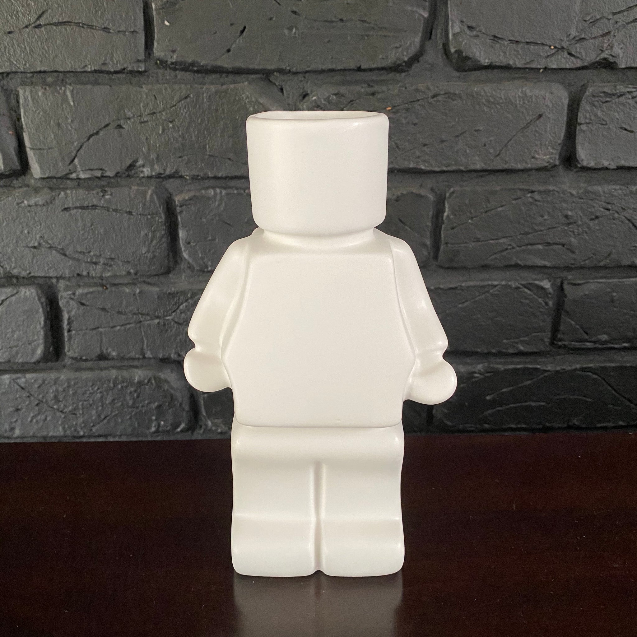 Block Man Planter - White