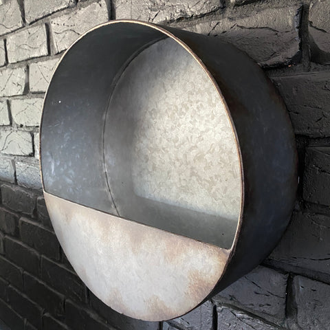 Galvanised Metal Wall Planter - Medium