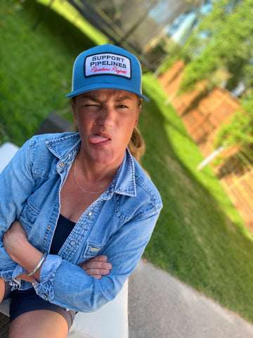 Curved Vintage Blue Trucker