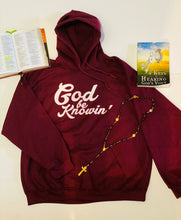 Load image into Gallery viewer, God Be Knowin' Hoodie (burgundy/white)